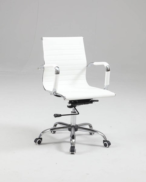 Modern White PU Upholstered Back Adjustable Office Chair CHF-4918-CCH-WHT