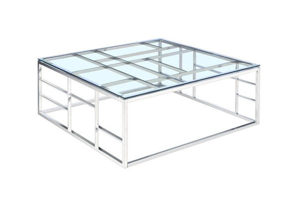 Chintaly Imports Clear Square Glass Top Cocktail Table CHF-5073-CT