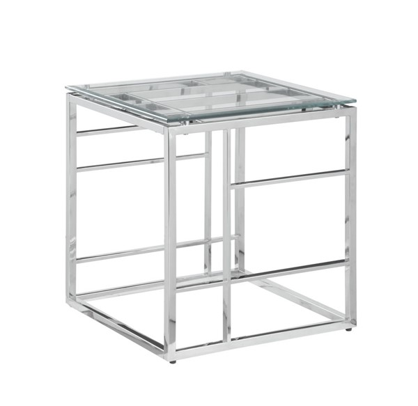 Chintaly Imports Clear Square Glass Top End Table CHF-5073-LT