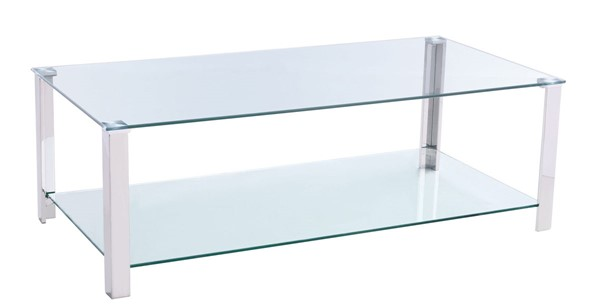 Chintaly Imports Clear Polished Cocktail Table Glass Top and Base CHF-5080-CT