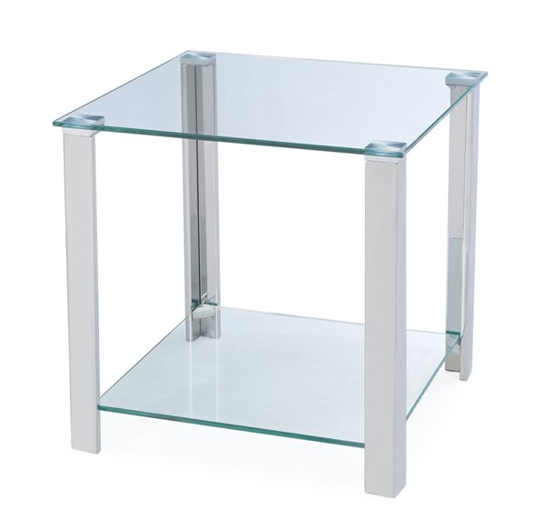 Chintaly Imports Clear Polished Lamp Table Glass Top and Base CHF-5080-LT