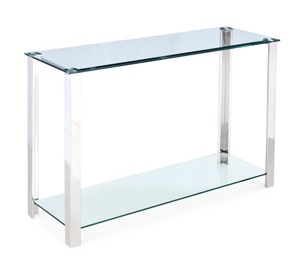 Chintaly Imports Clear Polished Sofa Table Glass Top and Base CHF-5080-ST