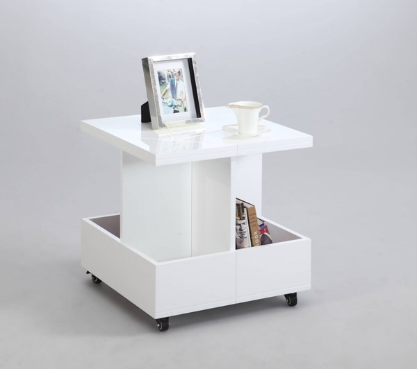 White Glass Magazine Organizer Lamp Table CHF-5111-LT