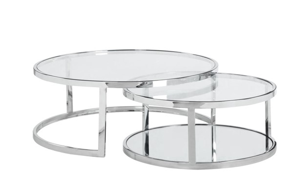 Chintaly Imports Polished Clear Round Nesting Cocktail Table CHF-5509-CT-NST