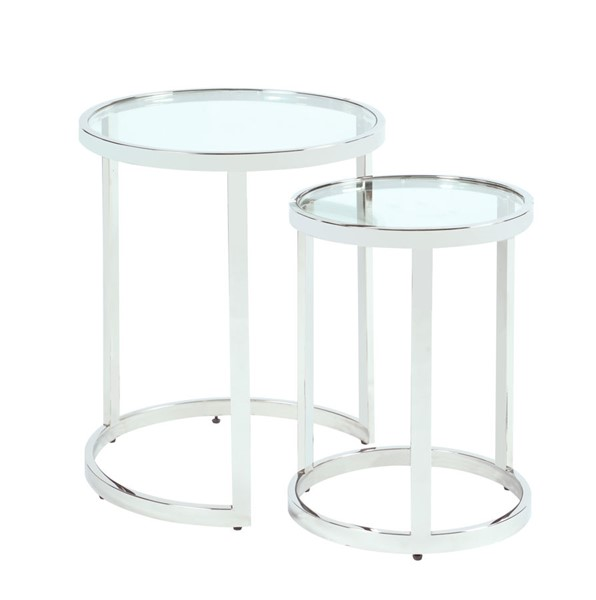 Chintaly Imports Polished Clear Round Nesting Lamp Table CHF-5509-LT-NST
