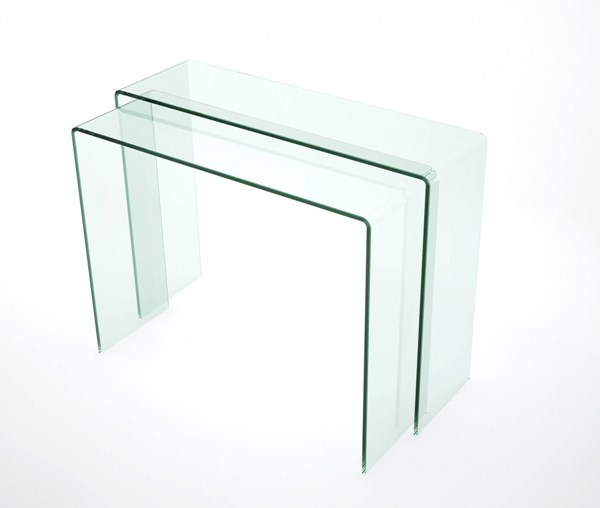 Nested Modern Bent Clear Glass Sofa Table CHF-6006-ST