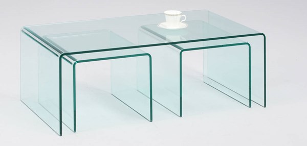 3pc Nested Bent Glass Cocktail Table Set CHF-6022-CT