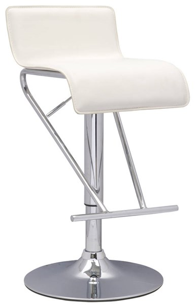 White PVC Armless Pneumatic Gas Lift Adjustable Height Swivel Stool CHF-6122-AS-WHT