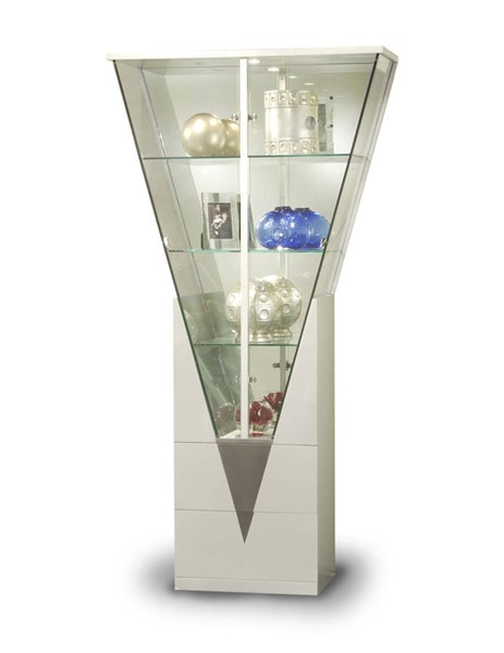 Silver Triangular Curio w/Mirrored Interior CHF-6625-CUR