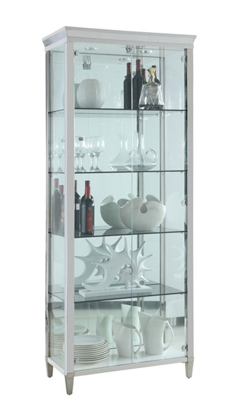 Chintaly Imports Clear Polished Stainless Steel Tempered Glass Curio CHF-6652-CUR