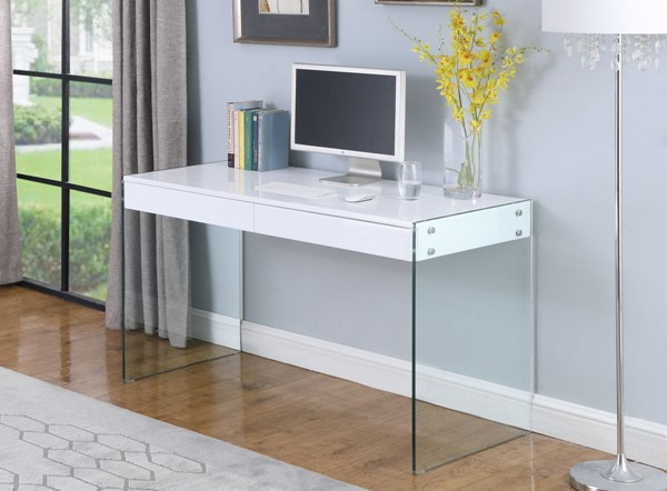 Chintaly Imports Contemporary Clear Gloss White Glass Desk CHF-6903-DSK
