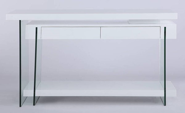 Chintaly Imports White Gloss Motion Home Office Desk CHF-6920-DSK