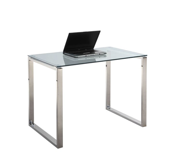 Modern Rectangle Computer Desk Tempered Glass Top CHF-6931-DSK-SML-T