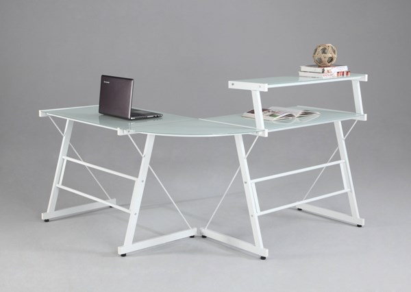 Chintaly Imports White L Shape Office Desk CHF-6944-DSK