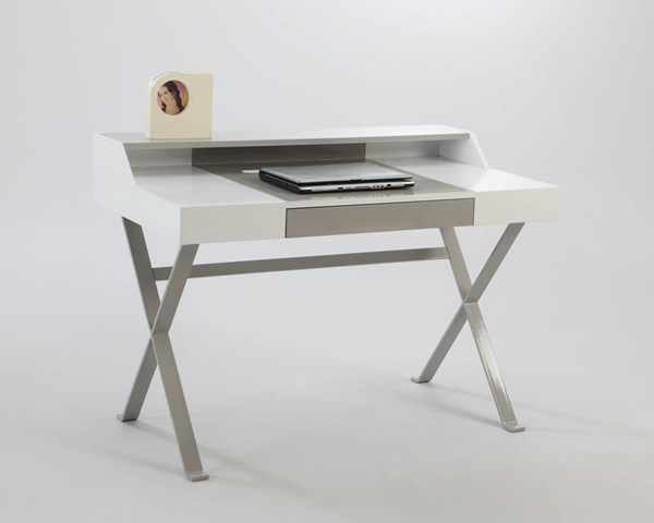Modern Gloss White Gray Wood Metal Desk W/Drawers CHF-6973-DSK-TB