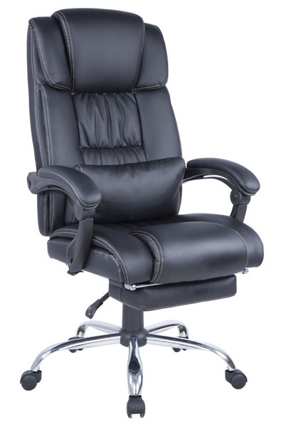 Chintaly Imports Chrome Black Computer Office Chair CHF-7200-CCH-BLK