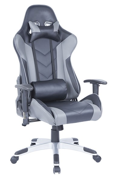 Chintaly Imports Silver Black Gray Computer Office Chair CHF-7202-CCH-2TONE