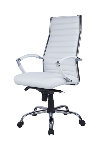 Chintaly Imports Chrome White Ribbed Back Stitching Computer Office Chair CHF-7208-CCH-WHT