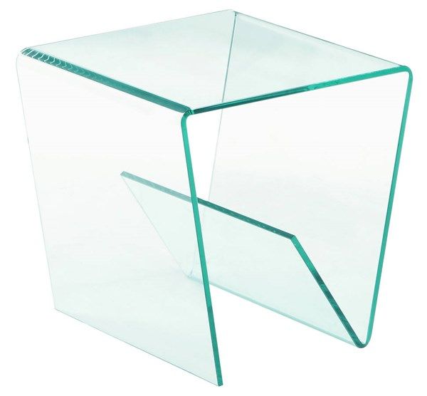 Chintaly Imports Square Bent Clear Glass Lamp Table CHF-72102-LT