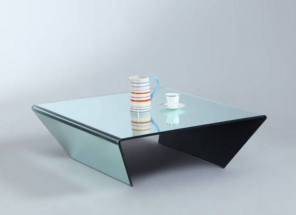 Modern Square Bent Glass Cocktail Table w/Mirror Effect CHF-72102-SQ-CT-MIR