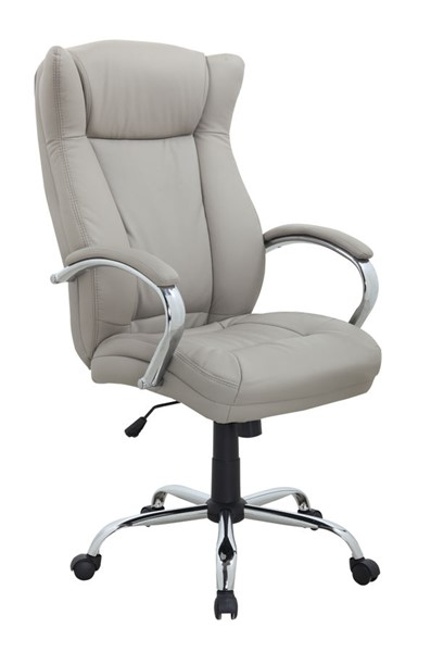 Chintaly Imports Chrome Light Gray Computer Office Chair CHF-7275-CCH-GRY