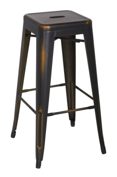 4 Chintaly Imports Copper Gold Indoor And Outdoor Bar Stools CHF-8015-BS-ATQ-GLD