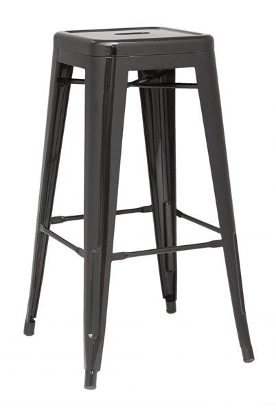 4 Chintaly Imports Alfresco Black Steel Indoor And Outdoor Bar Stools CHF-8015-BS-BLK