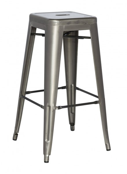4 Alfresco Gunmetal Galvanized Steel Stackable Bar Stools CHF-8015-BS-GUN