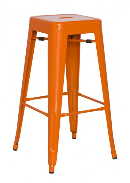 4 Alfresco Orange Galvanized Steel Bar Stools CHF-8015-BS-ORG