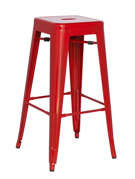 4 Chintaly Imports Alfresco Red Steel Indoor And Outdoor Bar Stools CHF-8015-BS-RED