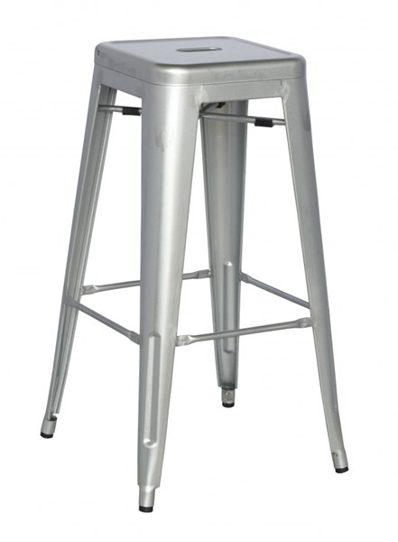 4 Alfresco Shiny Silver Galvanized Steel Bar Stools CHF-8015-BS-SLV