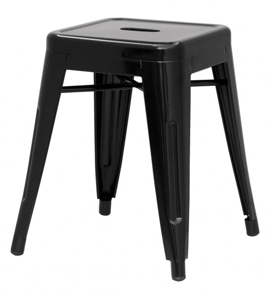 4 Alfresco Black Galvanized Steel Stackable Side Chairs CHF-8018-SC-BLK