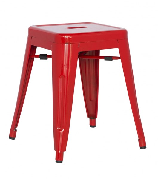 4 Alfresco Red Galvanized Steel Side Chairs CHF-8018-SC-RED