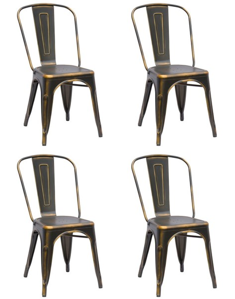 4 Chintaly Imports Alfresco Antique Copper Gold Side Chairs CHF-8022-SC-ATQ-GLD