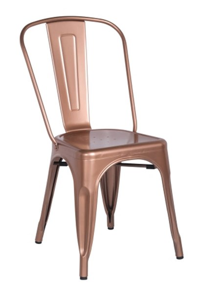 4 Vintage Rose Gold Metal Galvanized Steel Side Chairs CHF-8022-SC-ROSE-GLD