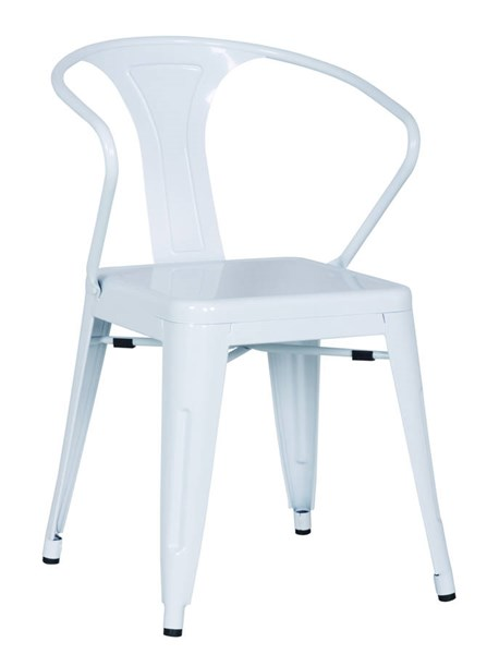 4 White Metal Galvanized Steel Side Chairs CHF-8023-SC-WHT