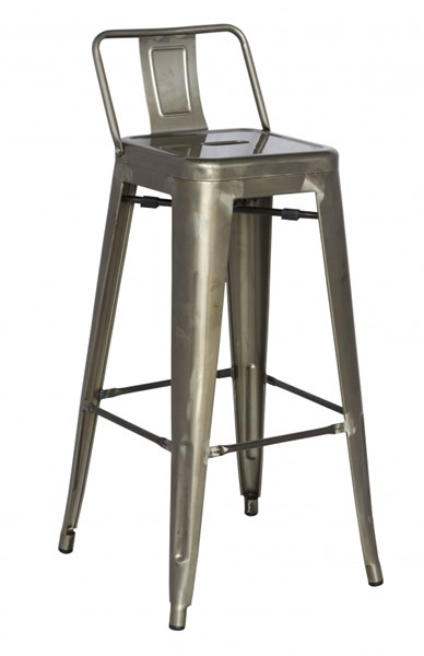 4 Alfresco Gunmetal Galvanized Steel Bar Stools CHF-8030-BS-GUN