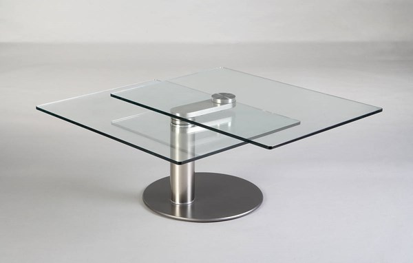 Silver Matt Grey Motion Cocktail Table w/Glass Top & Metal Base CHF-8049-CT