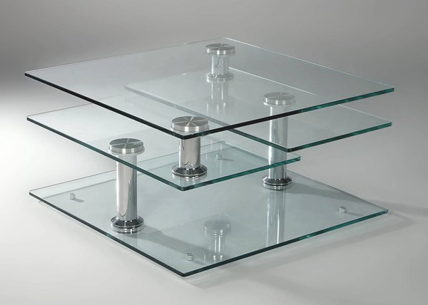 Tempered Clear Glass Square Motion Cocktail Top CHF-8052-CT-T