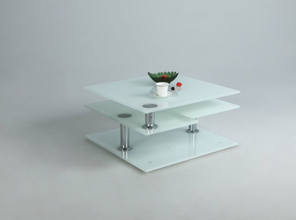 White Starphire Glass Motion Cocktail Table CHF-8052-CT-WHT-TB