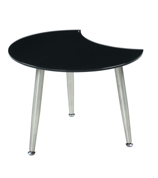Chintaly Imports Contemporary Brushed Nickel Black Shaped Glass Cocktail Table CHF-8072-CT-BLK