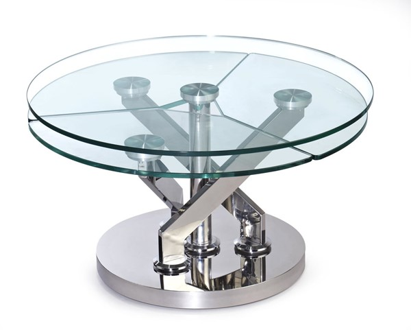 Chintaly Imports Contemporary Glass Top and Motion Shelves Cocktail Table CHF-8081-CT