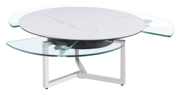 Chintaly Imports Brushed Stainless Steel Ceramic Top Glass Shelves Cocktail Table CHF-8082-CT