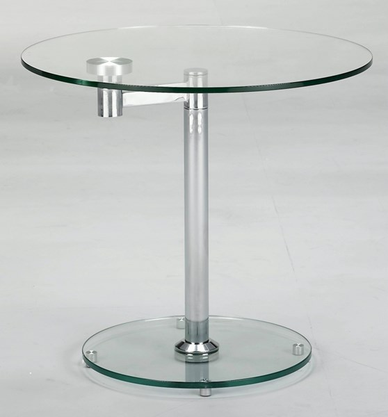 Chrome Glass Round Glass Round Lamp Table CHF-8090-LT