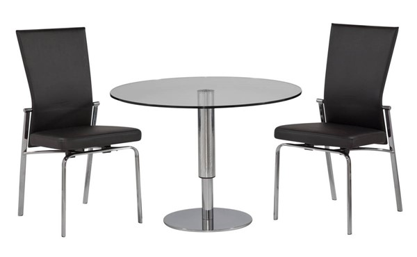 Molly Modern Black PU Glass Chrome Dining Room Set CHF-8129-MOLLY-DR