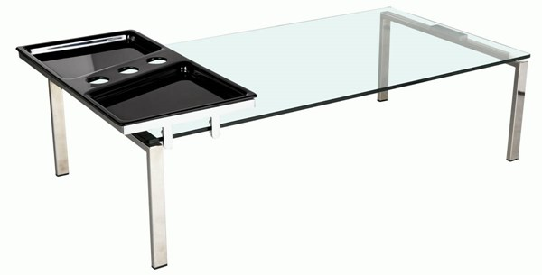 Acrylic Rectangle Glass Top Cocktail Table w/Motion Tray CHF-8151-CT-T