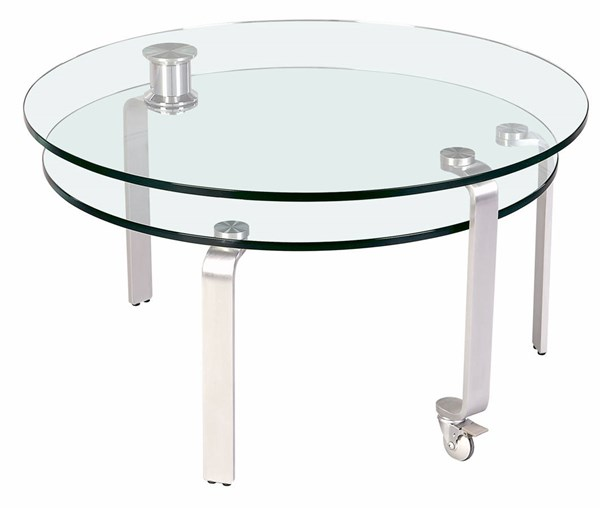 Chrome Motion & Round Cocktail Table W/Legs CHF-8161-CT