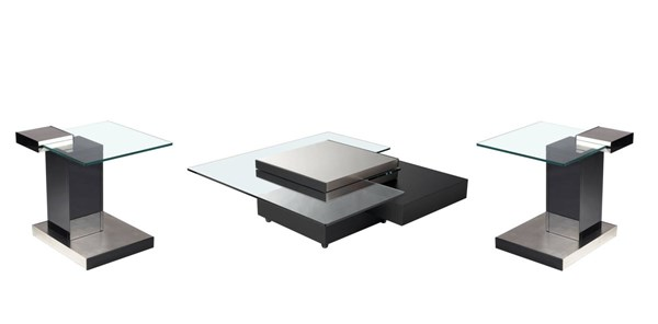 Black Metal Glass Stainless Steel Coffee Table Set CHF-8163-OCT