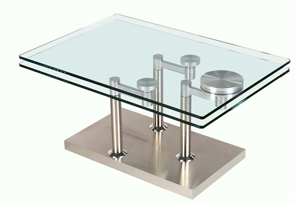 Chintaly Imports Clear Glass Top Cocktail Table CHF-8164-CT