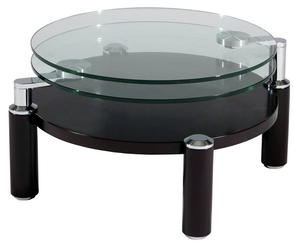Walnut Chrome Metal Glass Wood Cocktail Table CHF-8174-CT-TB